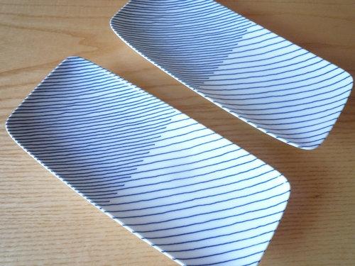 焼き魚が美味しくなるモダンな和皿 白山陶器「重ね縞 長焼皿」1
