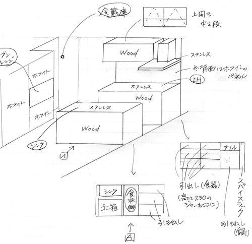 建築家Kさんにはこんな手書き図面でリクエストしてました