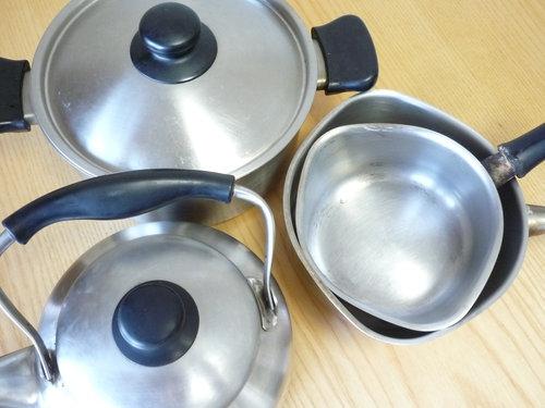 柳宗理のケトル&鍋を「焼け取り・汚れ落とし」サービスに出してみました