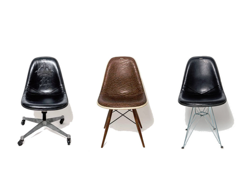 VINTAGE EAMES SIDE SHELL IS COVERED BY BILL WALL LEATHER